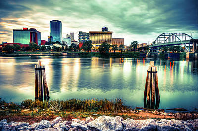 Photograph - Downtown Little Rock Arkansas Skyline On The Water - Vignette Edges by Gregory Ballos