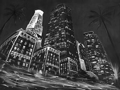 Hiphop Painting - Downtown Los Angeles by Nori Shirasu