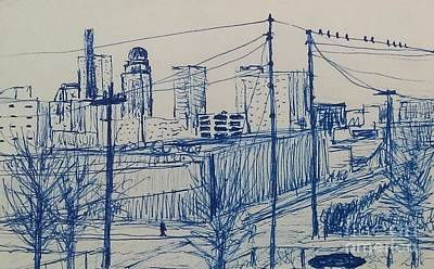Drawing - Downtown Louisville by Stacy C Bottoms