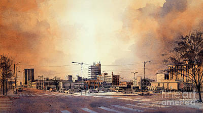 Painting - Downtown Lubbock From 14th And Buddy Holly by Tim Oliver