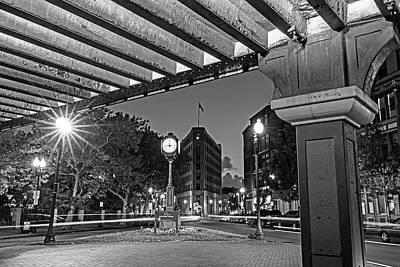 Photograph - Downtown Lynn At Night Lynn Ma Clock Black And White by Toby McGuire