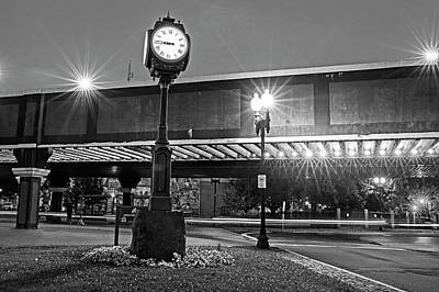 Photograph - Downtown Lynn At Night Lynn Ma Clock Rainbow Bridge Black And White by Toby McGuire