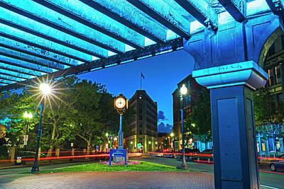 Photograph - Downtown Lynn At Night Lynn Ma Clock by Toby McGuire