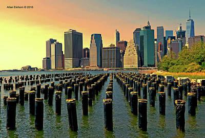 Downtown Manhattan Twilight Original by Allan Einhorn