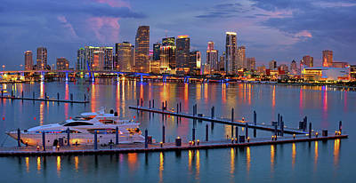 Photograph - Downtown Miami Skyline At Twilight  by Justin Kelefas