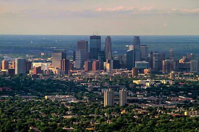 Photograph - Downtown Minneapolis Aerial View by Bonnie Follett