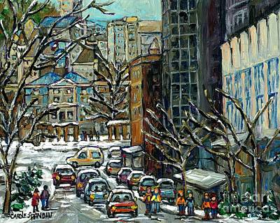 Downtown Montreal Memories Winter City Scene Mcgill Paintings Canadian Art Carole Spandau            Original by Carole Spandau