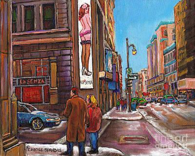 Winter Landscapes Painting - Downtown Montreal Streetscene At La Senza by Carole Spandau