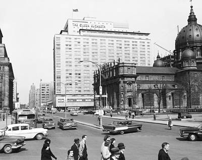 Montreal Buildings Photograph - Downtown Montreal by Underwood Archives