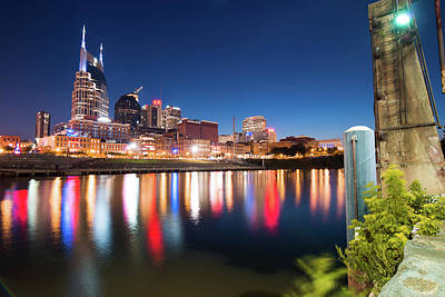 Photograph - Downtown Nashville Skyline At Night by Gregory Ballos