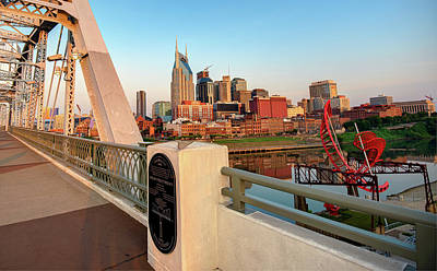 Photograph - Downtown Nashville Skyline From The Shelby Street Bridge by Gregory Ballos