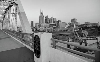 Photograph - Downtown Nashville Skyline From The Shelby Street Bridge - Monochrome by Gregory Ballos