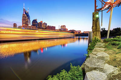 Photograph - Downtown Nashville Tennessee Skyline On The River by Gregory Ballos