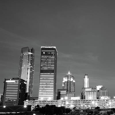 Okc Photograph - Downtown Okc Skyline - Black And White - Square Art by Gregory Ballos