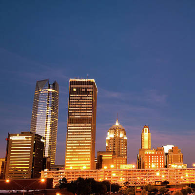 Painting - Downtown Okc Skyline - Square Art by Gregory Ballos