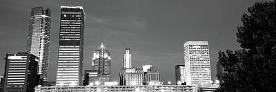 City Art Photograph - Downtown Oklahoma City Skyline Panorama - Black And White by Gregory Ballos