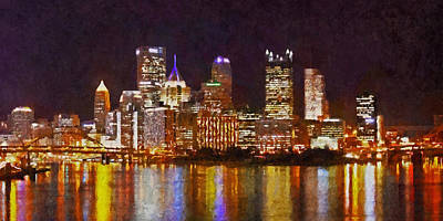 Digital Art - Downtown Pittsburgh On A Light Up Night by Digital Photographic Arts