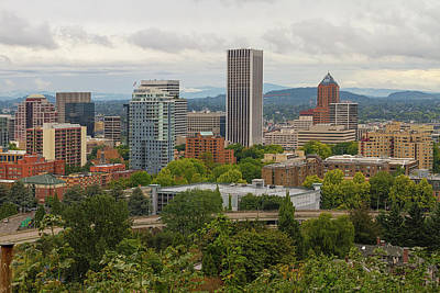 Wall Art - Photograph - Downtown Portland Cityscape Nestled In Trees by David Gn
