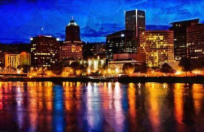 Photograph - Downtown Portland Skyline At Night by Thom Zehrfeld