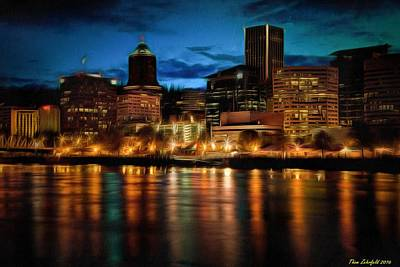 Photograph - Downtown Portland Skyline At Night by Thom Zehrfeld