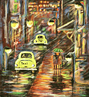 Painting - Downtown Rainy Street by Pati Pelz