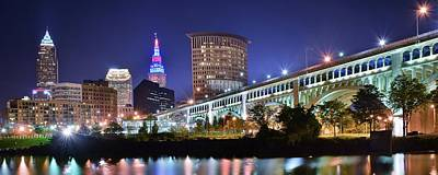 Downtown Cleveland Photograph - Downtown River Lights by Frozen in Time Fine Art Photography