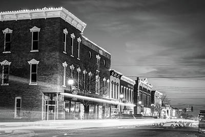 Photograph - Downtown Rogers Arkansas Skyline At Dusk - Black And White by Gregory Ballos