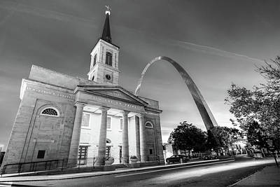 City Photograph - Downtown Saint Louis Arch And The Old Cathedral - Basilica Of St. Louis - Black And White by Gregory Ballos