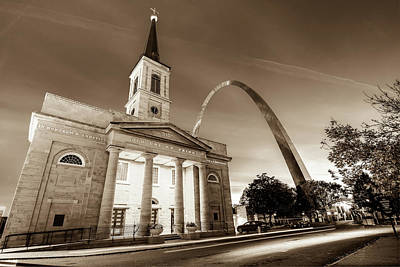 Downtown Saint Louis Arch And The Old Cathedral - Basilica Of St. Louis In Sepia Art Print by Gregory Ballos
