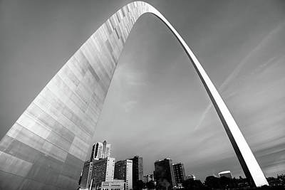 Arches Photograph - Downtown Saint Louis Skyline Under The Arch - Black And White by Gregory Ballos