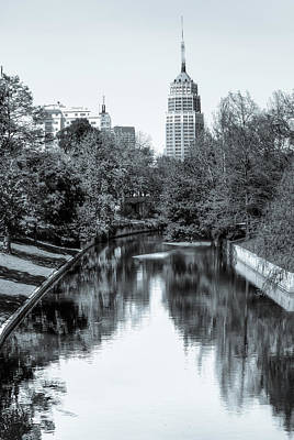 Photograph - Downtown San Antonio Skyline From The River In Black And White by Gregory Ballos