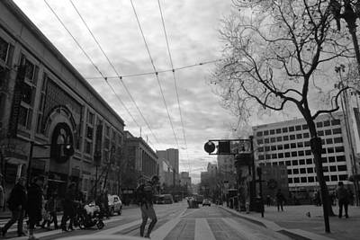 Photograph - Downtown San Francisco - Market Street Crosswalk - Black And White by Matt Harang