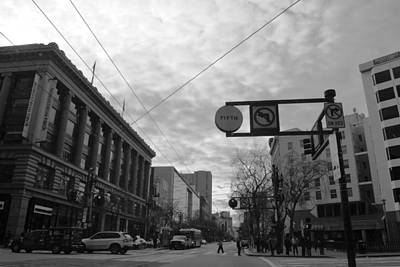 Photograph - Downtown San Francisco - Market Street Intersection - Black And White by Matt Harang