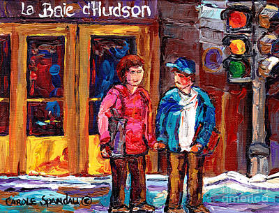 Painting - Downtown Scene Montreal 375 Original Art Canadian Painting The Bay St Catherine Carole Spandau Art   by Carole Spandau