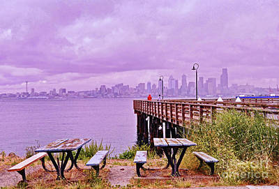 Photograph - Downtown Seattle As Seen From Alki Beach by Allen Beatty
