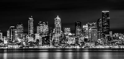 Photograph - Downtown Seattle At Night Black And White by TL  Mair