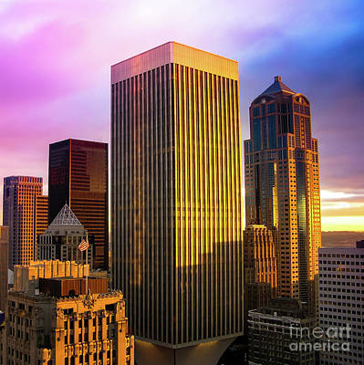 Photograph - Downtown Seattle At Sunset by Blake Webster