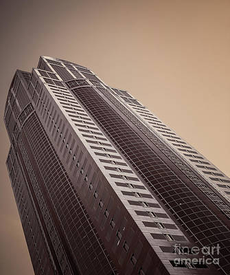 Photograph - Downtown Seattle Skyscrapers Merlot Tone by Blake Webster
