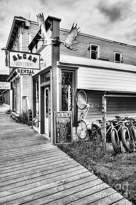 For Rent Photograph - Downtown Skagway 3 Bw by Mel Steinhauer