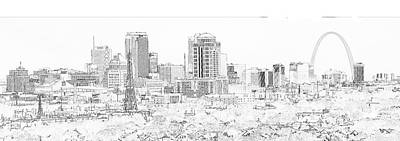 Photograph - Downtown St. Louis From The Southwest Sketch 2 by C H Apperson