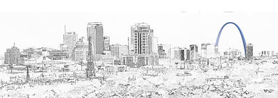 Photograph - Downtown St. Louis From The Southwest Sketch 3 by C H Apperson