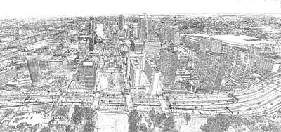 Photograph - Downtown St. Louis Panorama Sketch by C H Apperson