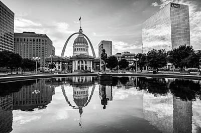 Reflection Photograph - Downtown St. Louis Skyline Morning Sunrise Reflections - Black And White by Gregory Ballos
