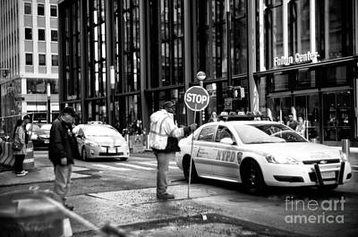 Stop Sign Photograph - Downtown Stop by John Rizzuto