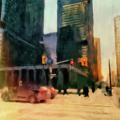 Digital Art - Downtown Toronto King And Bay by Nicky Jameson