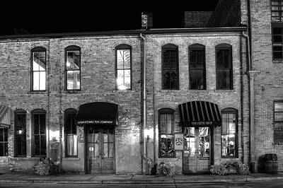 Downtown Toy And The Celtic Shop In Black And White Print by Greg Mimbs