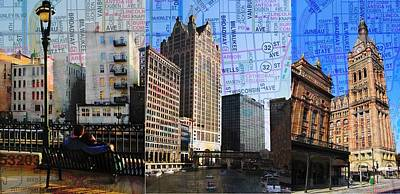 Photograph - Downtown Trio W Map by Anita Burgermeister