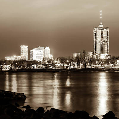 Photograph - Downtown Tulsa Cityscape Skyline - Sepia Edition - Square Format  by Gregory Ballos