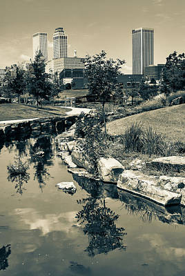 Oklahoma Photograph - Downtown Tulsa Oklahoma Skyline. Ca. 2008 - Dark Sepia by Gregory Ballos