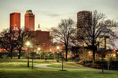 City Scenes Royalty-Free and Rights-Managed Images - Downtown Tulsa Oklahoma Skyline. Ca. 2011 - Lighting Up the Night by Gregory Ballos